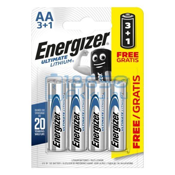 Energizer Ultimate Lithium Extra Tartós Lítium (AA / R6 / L91) Ceruza Elem (4db)