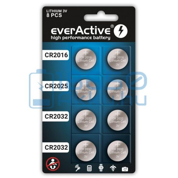 EverActive Lítium Gombelem Csomag (8db)