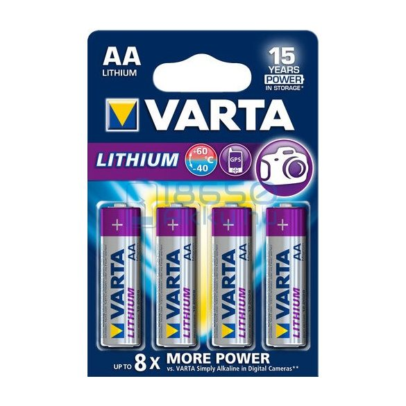 Varta Lithium Extra Tartós Lítium (AA / R6 / L91) Ceruza Elem (4db)