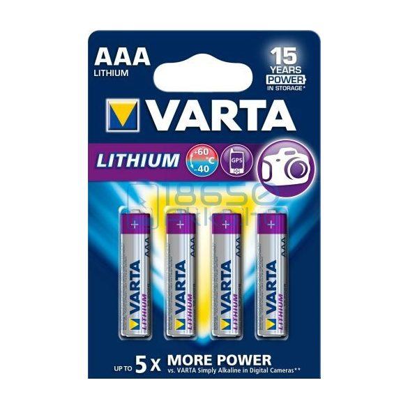 Varta Lithium Extra Tartós Lítium (AAA / R03 / L92) Mikro Elem (4db)