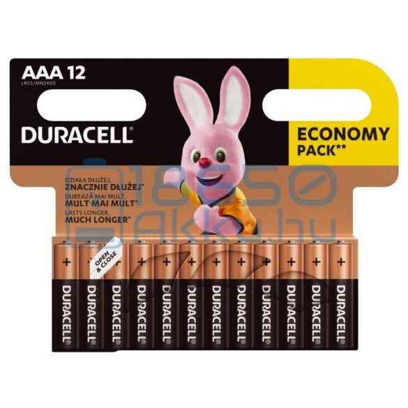 Duracell Basic Duralock Alkáli Tartós (AAA / LR03 / MN2400) Mikro Elem (12db)