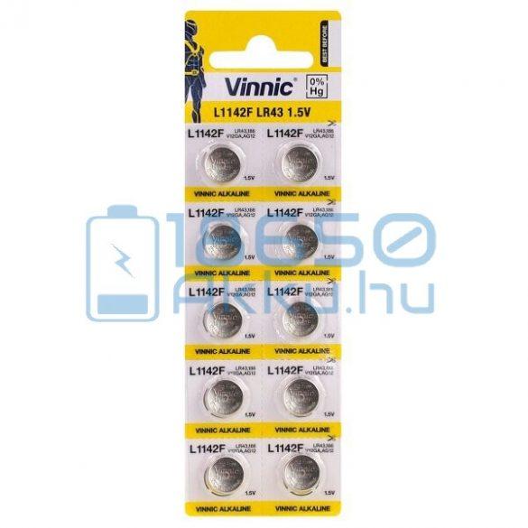 Vinnic AG12 / LR43 / L1142F Alkáli Gombelem