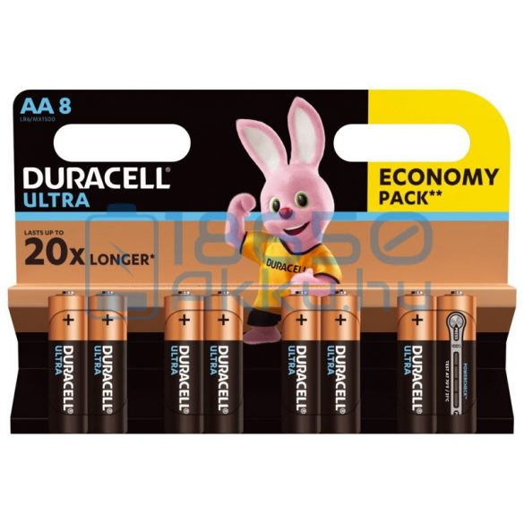 Duracell Ultra Powercheck Alkáli Tartós (AA / LR6 / MX1500) Ceruza Elem (8db)
