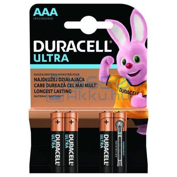 Duracell Ultra Powercheck Alkáli Tartós (AAA / LR03 / MX2400) Mikro Elem (4db)