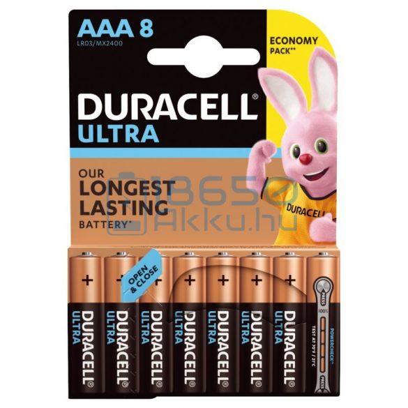 Duracell Ultra Powercheck Alkáli Tartós (AAA / LR03 / MX2400) Mikro Elem (8db)
