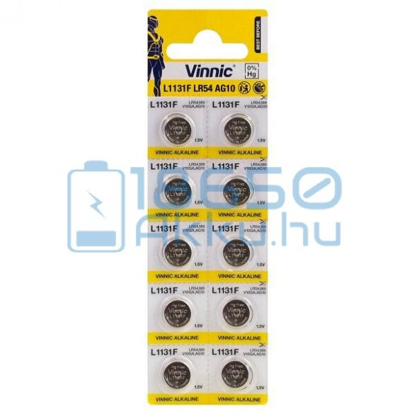 Vinnic AG10 / LR54 / L1131F Alkáli Gombelem