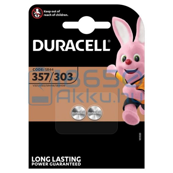 Duracell 303/357 / SR44 Ezüst-Oxid Gombelem (2db)