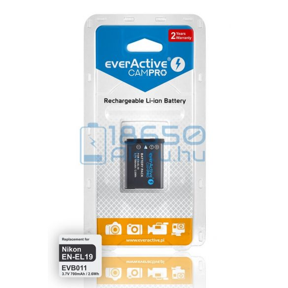 EverActive CamPro (Nikon EN-EL19) Fényképezőgép Akkumulátor (EVB011)