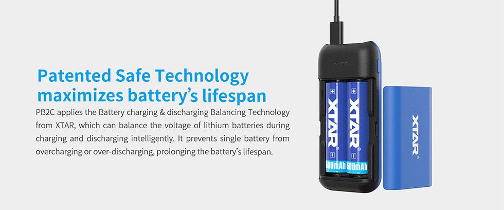 XTAR PB2C Akkumulátor Töltő és Powerbank